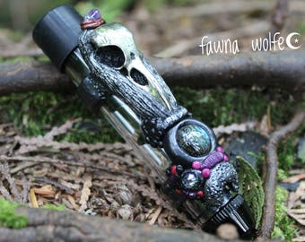Witchy Bird Skull Moon Pipe, Adorned Twisty Glass Pipe, Art Pipe, Crystal Pipe, Crystal Pipes, Labradorite Pipe, Handsculpted Clay Art Pipe