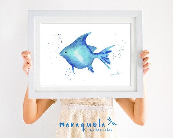 BLUE FISH illustration Watercolor painting. Home Decor, bathroom wall art, sea decor, beach, bath, ideas gift, blue decor, fresh livingroom