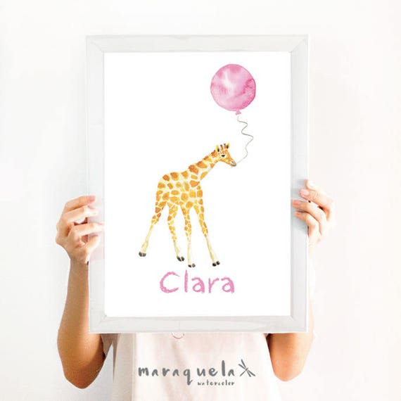 Little GIRAFFE Pink balloon Watercolor, CUSTOM name nursery decor. Customized Baby art. Animals decoration, baby shower girls, kids room