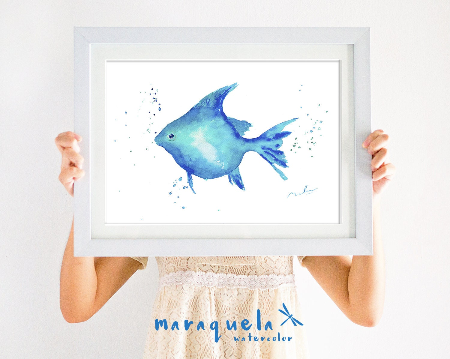 Blue fish illustration watercolor painting home decor for Blue bathroom wall decor