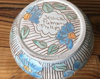 Carved Blue Floral Bowl