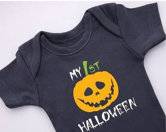 LATE SHIP SALE Halloween Baby Bodysuit, Graphite Gray, Short Sleeve or Long Sleeve, Newborn to 12-18 months, My First Halloween Outfit, Hall