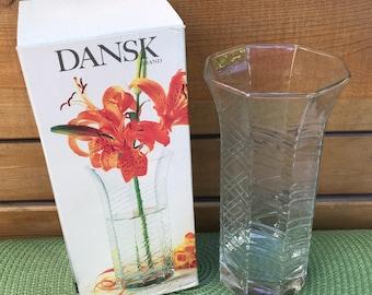 """Vintages 80""""s Dansk Brand Wildflower Vase. Dansk International Design. Made in Belgium. Dansk hexagonal 7.5 inch vase. Nibbed glass. New."""