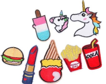 8pcs Kawaii Iron Or Sew On Patches Appliques Black And White Letters Notions Unicorn Pop Cola French Fries Icecream Popsicle Lipstick