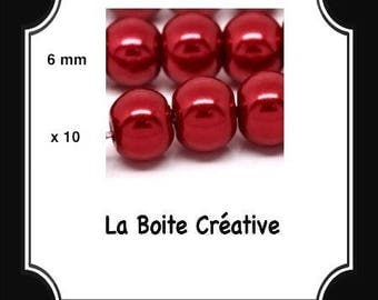 10 round Pearl 6 mm red glass beads