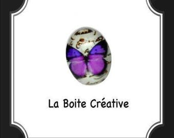 CABOCHON oval Butterfly purple and black in glass 18 x 13 mm