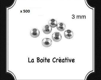 500 INTERCALAIRES in SILVERED METAL 3 mm round beads