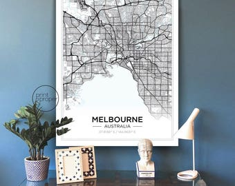 SIMPLE SCANDI City Map - MELBOURNE / or Custom City - Wall Art Print Poster Canvas
