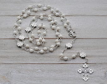 Ox Bone and Silver Rosary