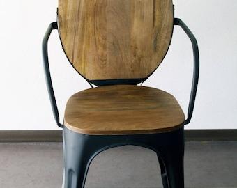 Chair vintage industrial metal and wood