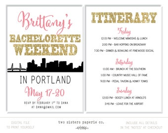 PORTLAND BACHELORETTE Party Invitation and Itinerary - Portland Bachelorette Invitation - Portland Itinerary - Printable Invitation