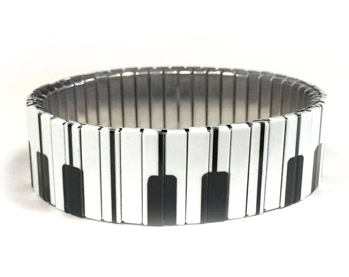 Piano keys bracelet, Music, Repurpose watch band, Sublimation, Stainless Steel, musician gift