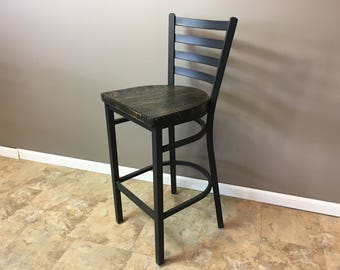 Reclaimed Bar Stool | In  Black Metal Finish | Ladder Back Metal | Restaurant Grade -30 Inch High Barstool