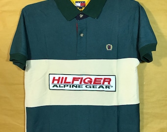 90s Vintage Deadstock Unworn With Tags TOMMY HILFIGER Alpine Gear Patch Polo Shirt Adult Small Size