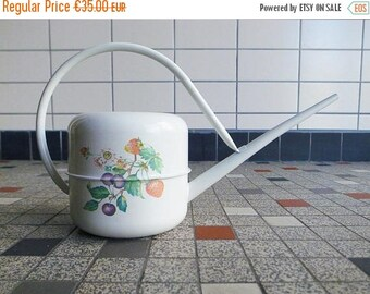 2nd ANNIV SALE 70s - 80s Dutch Vintage Brabantia Metal / Tin Watering Can in White with Fruit Pattern Mid Century Modern