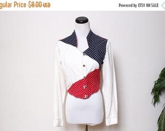 25% OFF VTG 90s Cowboy Western American Flag Red White Blue Crop Top S