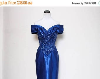25% OFF VTG 80s Blue Sequin Off The Shoulder Prom Floor Length Gown S