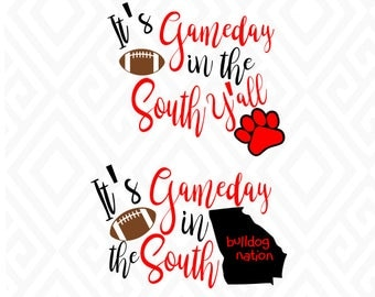 It's Gameday in the South/Georgia Bulldogs; SVG, DXF, EPS, Ai, Png, Jpeg and Pdf Digital Files for Electronic Cutting Machines