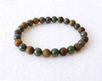Tiger Eye Bracelet for Men, Beaded Bracelet, Mala Bracelet, Pyrite Stone, Gift for Him, Boyfriend Father Husband, Adjustable Bracelet