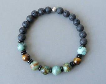 Turquoise Bracelet, Lava Stone Bracelet, Men Bracelet, Bohemian Boho Southwestern Native American, Valentines Gift, Elastic Bracelet