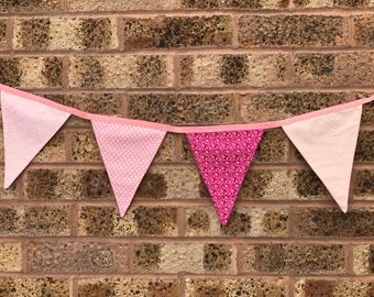 Pink Spotty and Floral Bunting - Handmade // Nursery Decor // Gift // Flags // Celebration