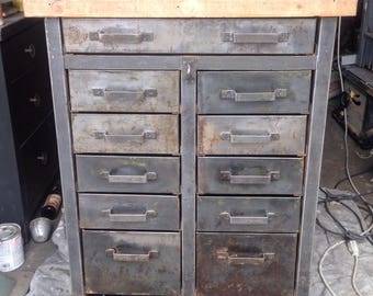 Metal cabinet with butcher block top LA area only