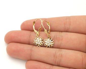 "14k Yellow Gold Diamond Cut CZ Sunflower Dangle Drop Leverback Earrings 1"""