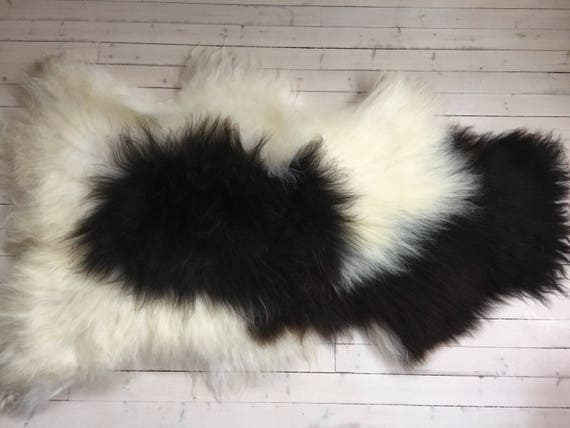 Spotted, long haired, large sheepskin rug spael sheep throw black, white - 17197