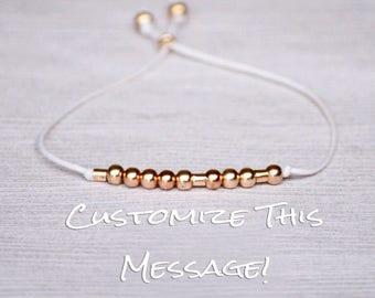 Best friends bracelet, morse code bracelet, friendship bracelet, morse code, sister morse code, sister bracelet, secret message, rose gold