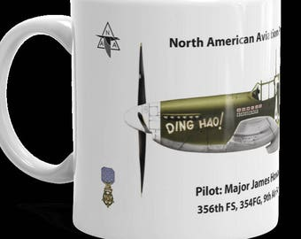 """Medal of Honor Coffee Cup, 11 or 15oz.  Fighter Ace Maj. James Howard's P-51B Mustang """"Ding Hao!"""""""
