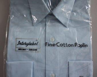 Vtg 60's Unworn Baby Blue Cotton Poplin Shirt