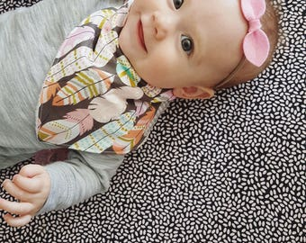 pink navy felt headband, top knot headband for babies, coming home outfit, gift for baby girl, baby shower gift, no mark nylon band
