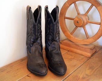 Kids Size 1 Youth Wrangler Cowboy Boots Brown and Black Leather Western Boys Girls Children's Made in U.S.A.