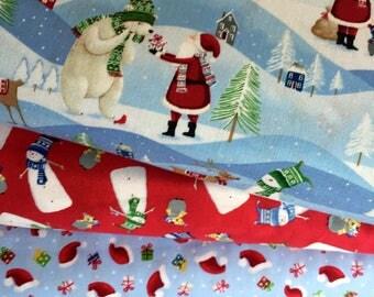 Santa's Little Helper 3 Fat Quarter Christmas Fabric Bundle by Windham Fabrics