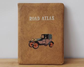 Vintage UK Road Atlas 1964  Book of Maps Display Books Old Map Books Retro Boho Display Books Old Books Vintage Books 1960s Classic Cars