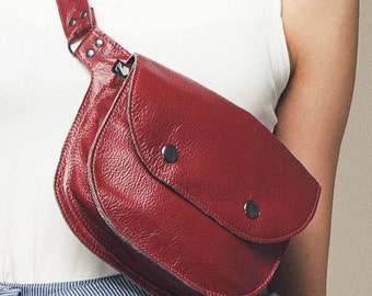 pocket belt / fanny pack in recycled leather