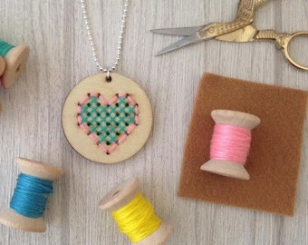 Cross Stitch Kit // Heart Pendant // Make Your Own // DIY // Gift // Craft Kit