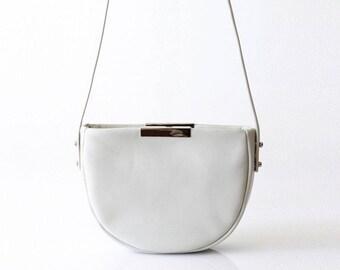 mini leather saddle bag OPELLE Micro Meena cross body purse BONE