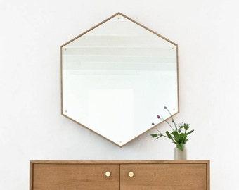 HEX Mirror - Large Hexagon Mirror - Waxed White Oak - Brass - Minimal