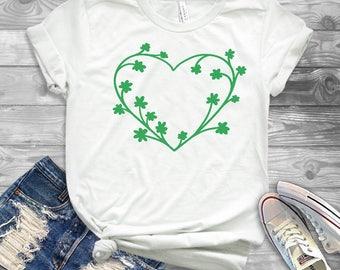 Women's St. Patrick's Day Shirt - Heart Clover - Clovers and Heart - Irish T-Shirt