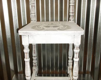 Wood Stool French Country Vanity Stool Shabby Cottage Chic Vintage Stool Rustic Accent Furniture