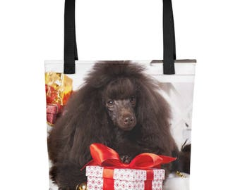 Poodle Tote Bag,Poodle Holiday Tote,Poodle Christmas Tote,Dog Tote Bag,Pet Tote Bag,Poodle,Tote Bag,Pet Lover Gift,Christmas Bag,Dog Lovers