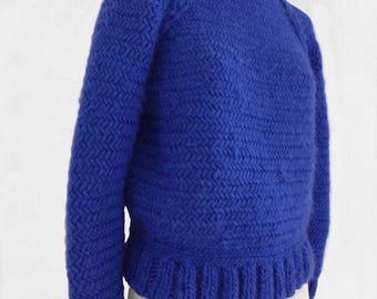 Blue sweater electric knit 100% Virgin wool in herringbone stitch