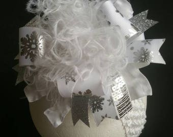 Silver & White Snowflake Over The Top Boutique Hairbow/Headband/Hairclip Ostrich Feather