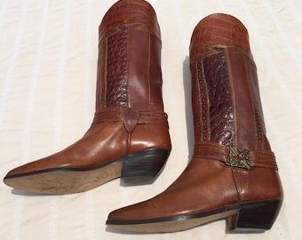 Circle S Ltd Iguana Tara Multi women's cowgirl boots , made in Brazil, size 6.5, vintage 80's