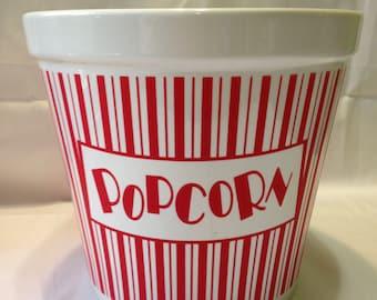 Red and White Stripe Ceramic Popcorn Bowl