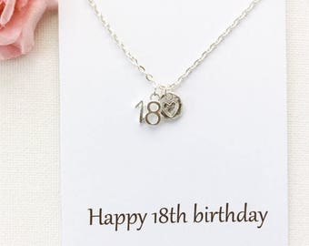VACATION SALE 18th birthday gift, 18th birthday, eighteenth birthday gift, message card necklace,18th gift, gift for 18th, BMCNTF1801