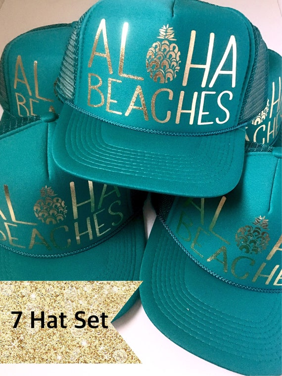 7 Aloha Beaches Hat SET| Party Hats| Bride Hat| Bachelorette Hats| Bridesmaid Hats| Aloha Beaches| 7 Jade Aloha Beaches Hats