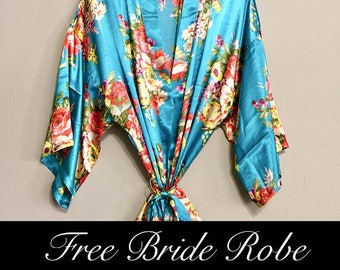 Floral Bridesmaid Robes- Satin Kimono Floral Robes for Bridesmaids in 10 colors