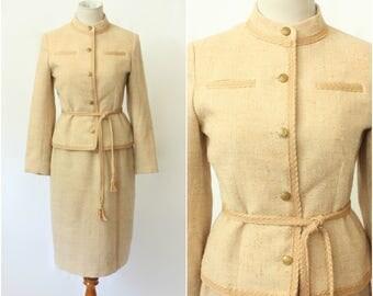 Vintage 70's/80's Devon Hall Blush Beige Boucle 2 PC Suit, Skirt Set, Chanel Style, Size - Small
